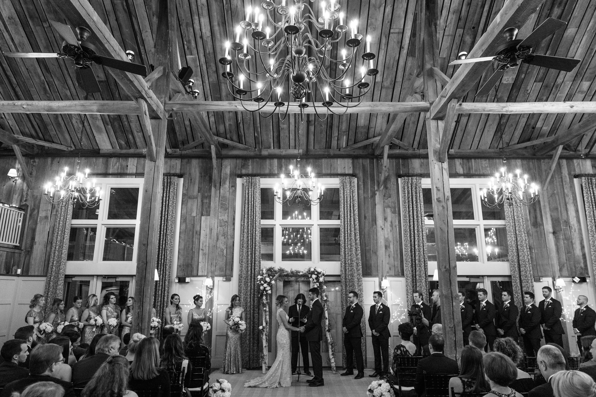 Low light ceremony at The Barn at Gibbet Hill Wedding