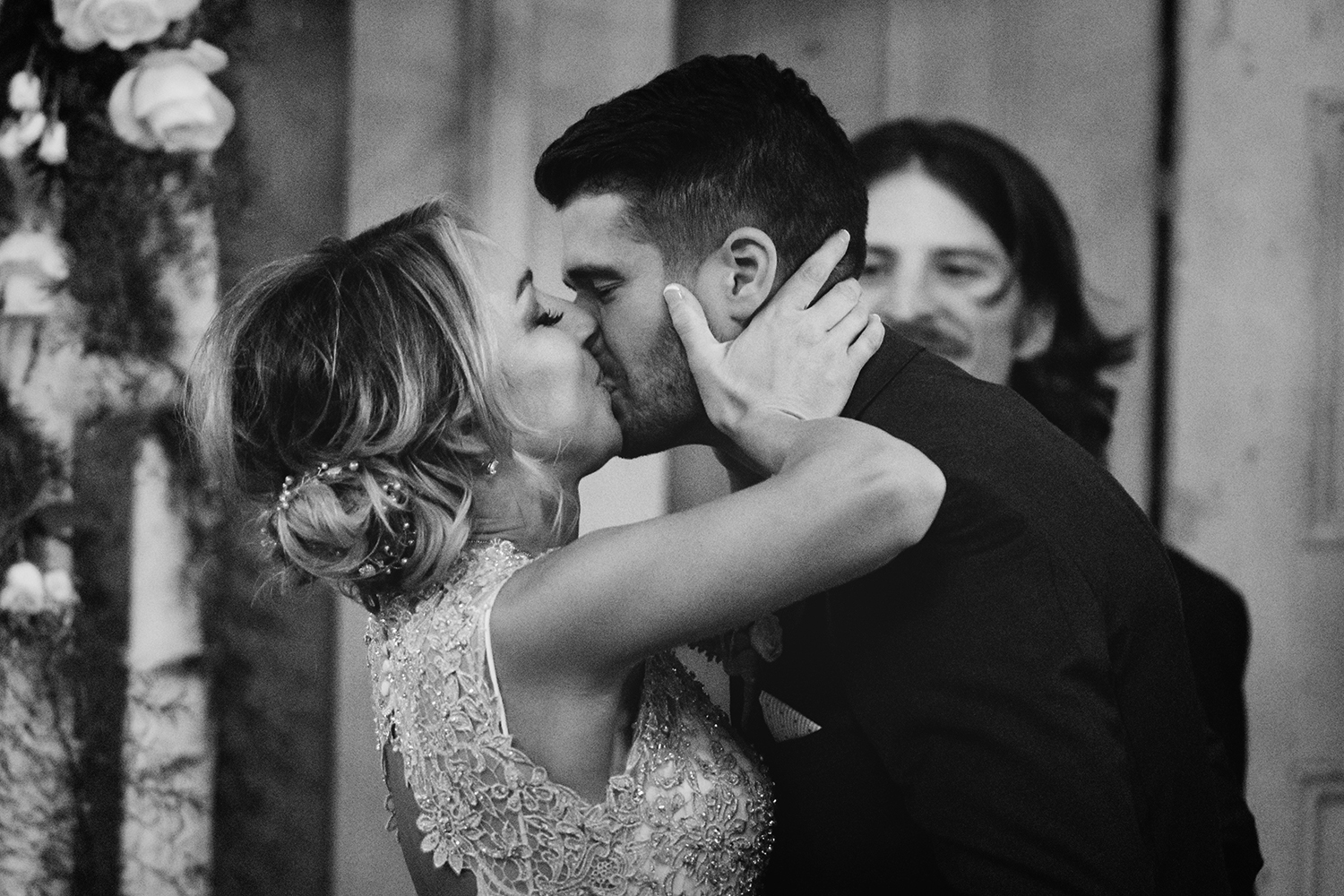 First Kiss Low light ceremony at The Barn at Gibbet Hill Wedding