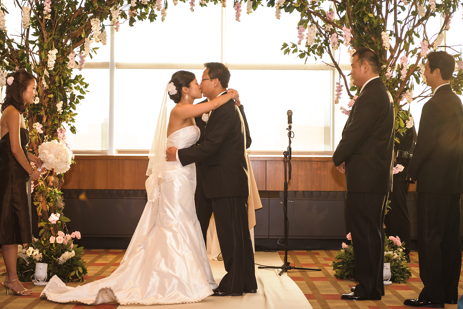 Stage 6 at Steiner Studios Wedding in Brooklyn, NY first kiss