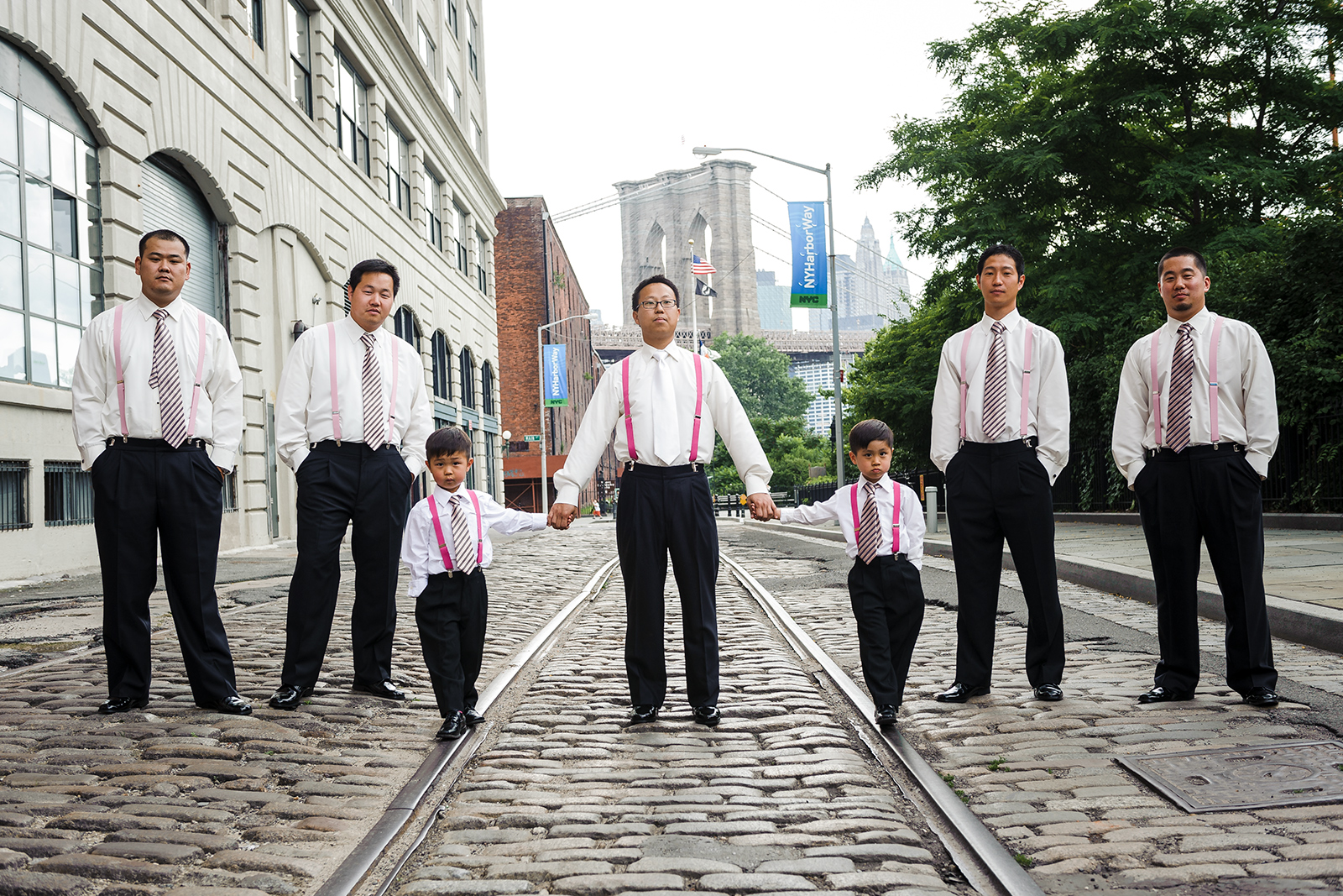 Dumbo Park wedding groomsmen