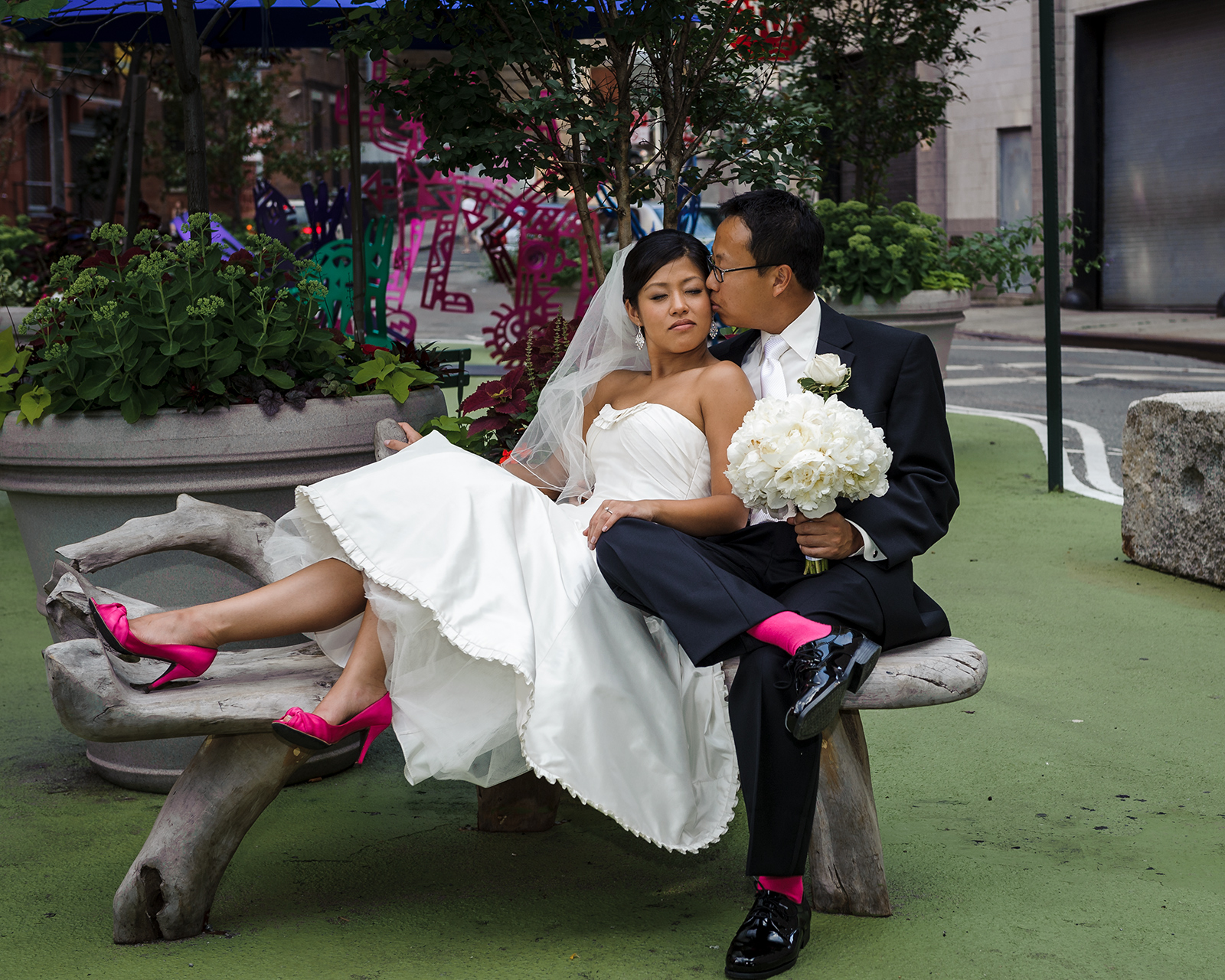 Dumbo park asian wedding portraits