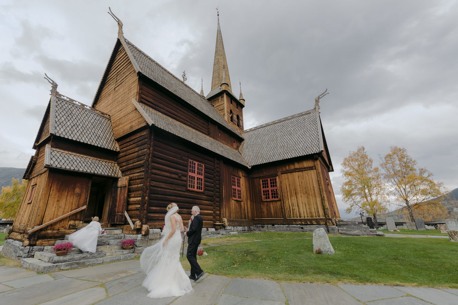 Lom Stave Church Wedding Bride Walking escorted by father