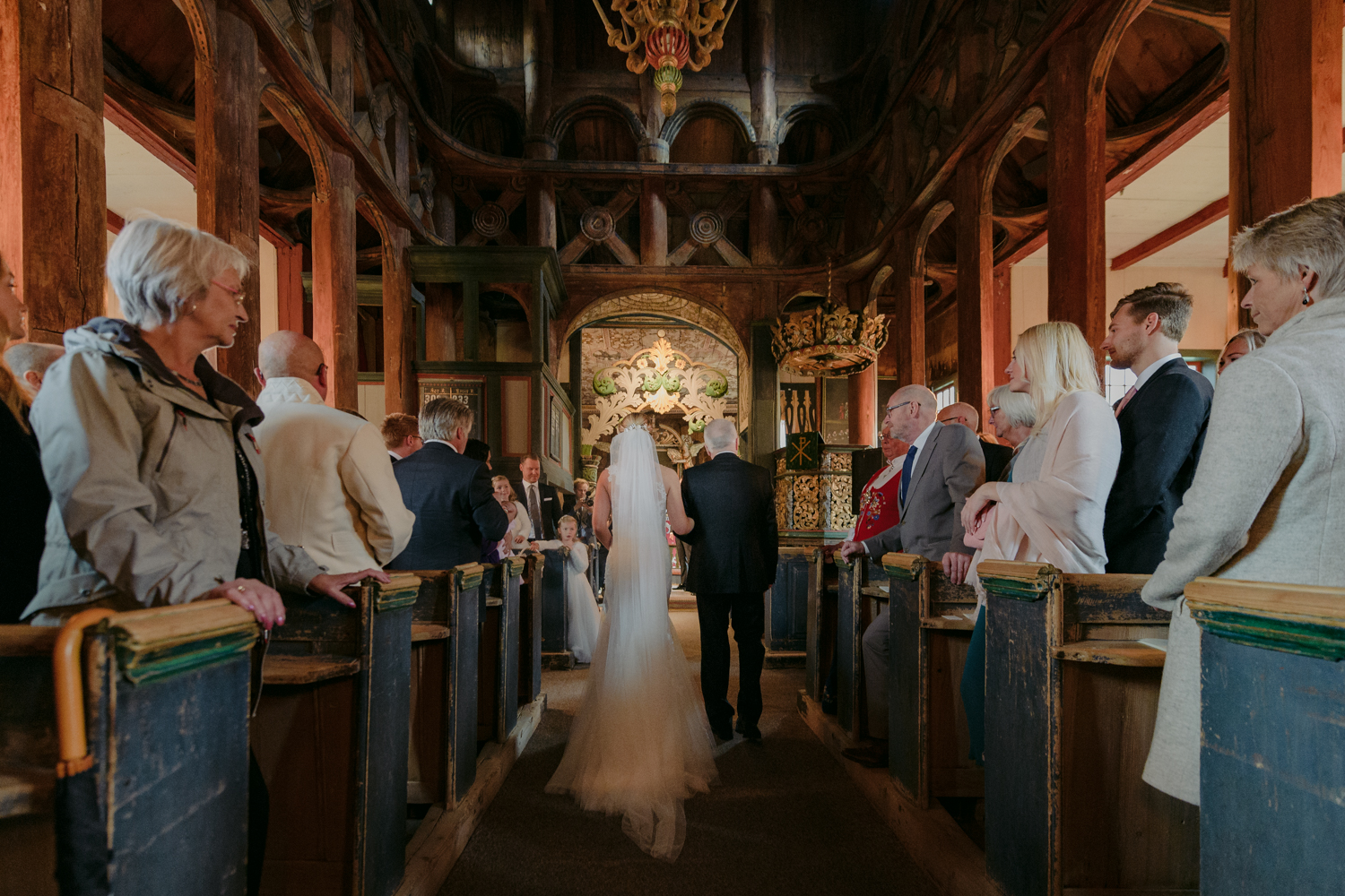 Lom Stave Church Wedding walking with father