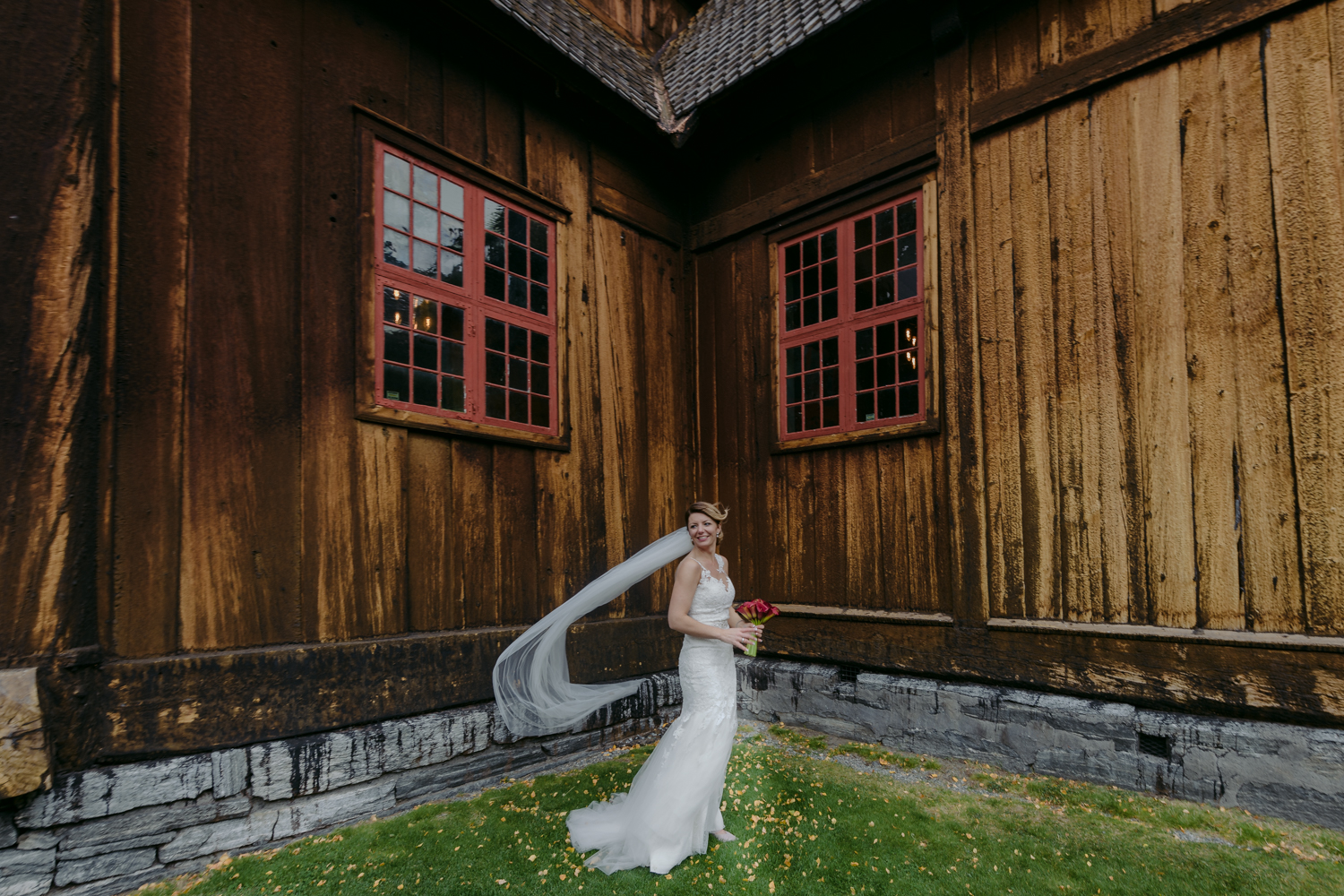 Norwegian wedding at Lom Stave Church long veil