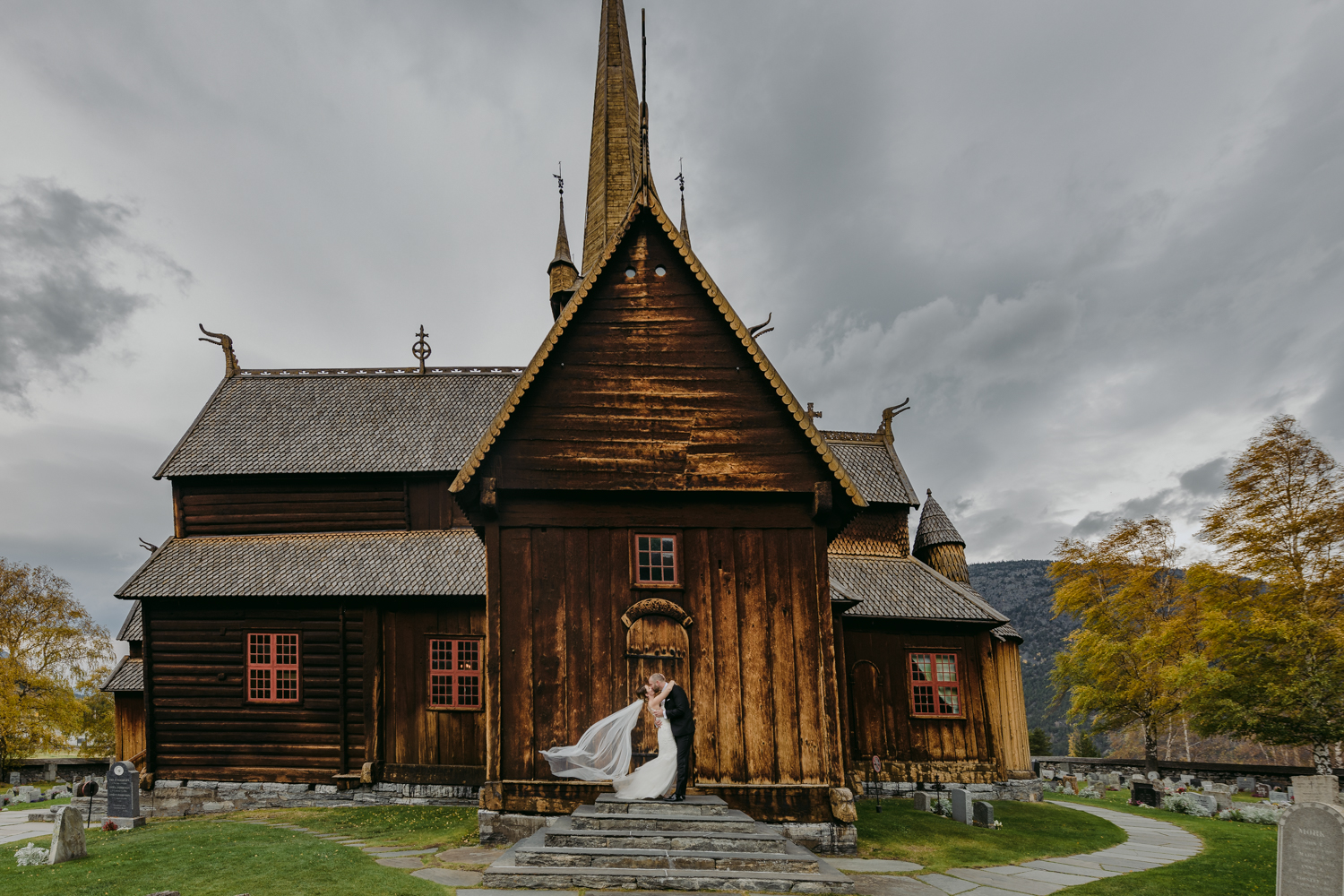 Lom Stave Church Wedding kiss with long veil