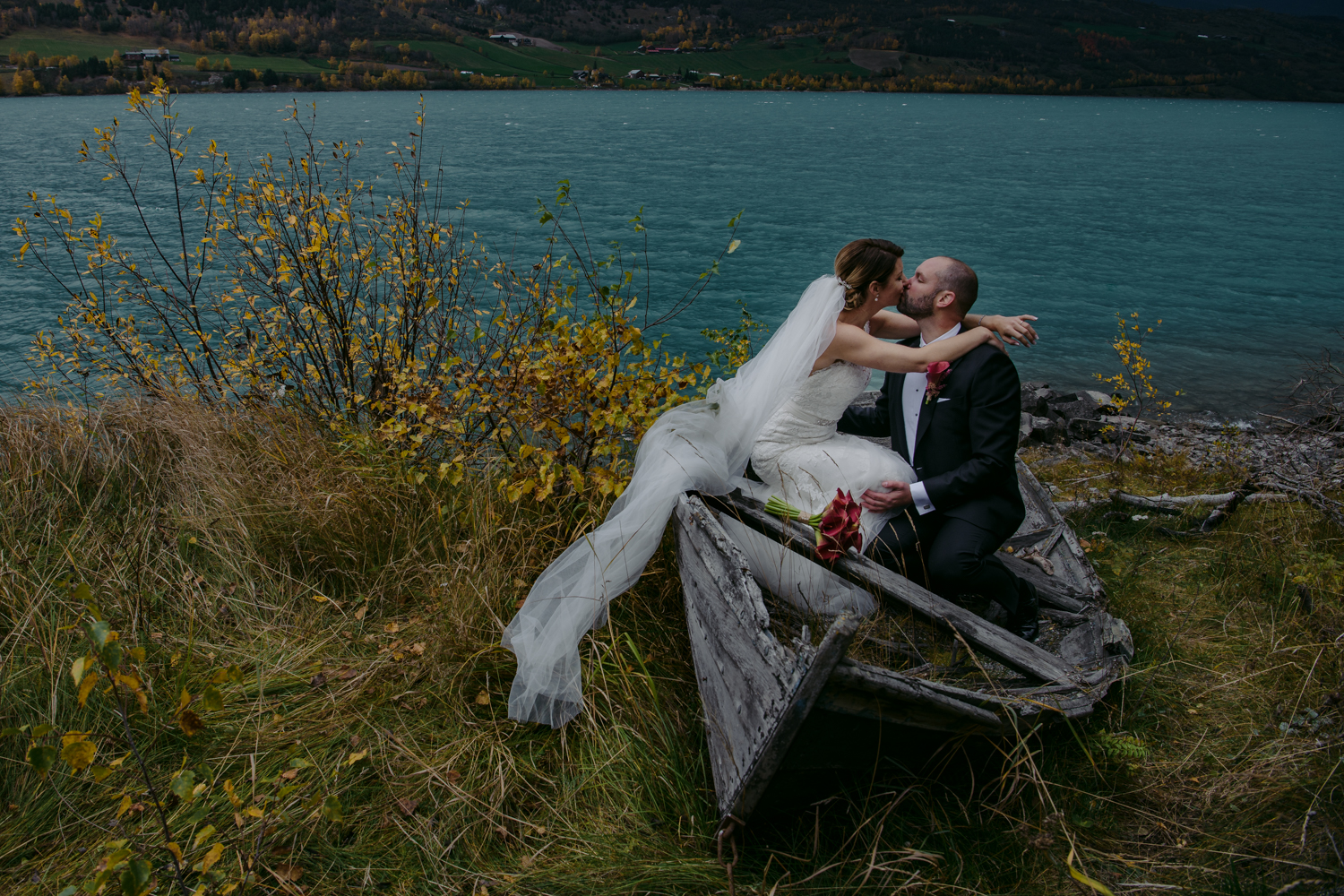 Norwegian wedding portrait in old boat