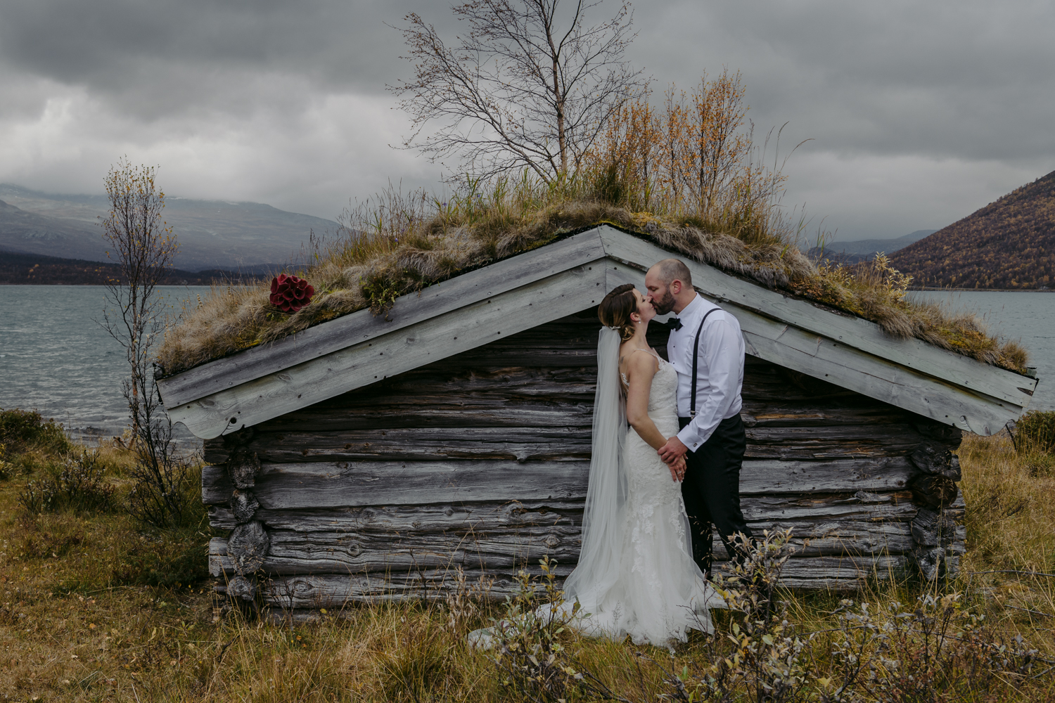 Norwegian wedding couple portrait