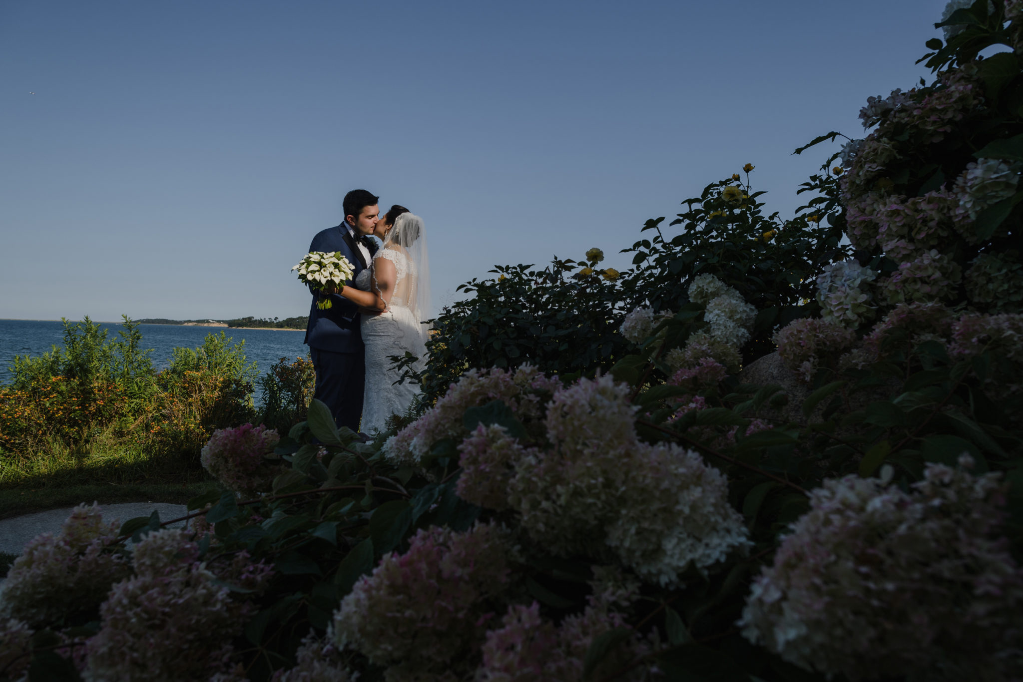 Wequassett Resort Wedding bridal couple kissing
