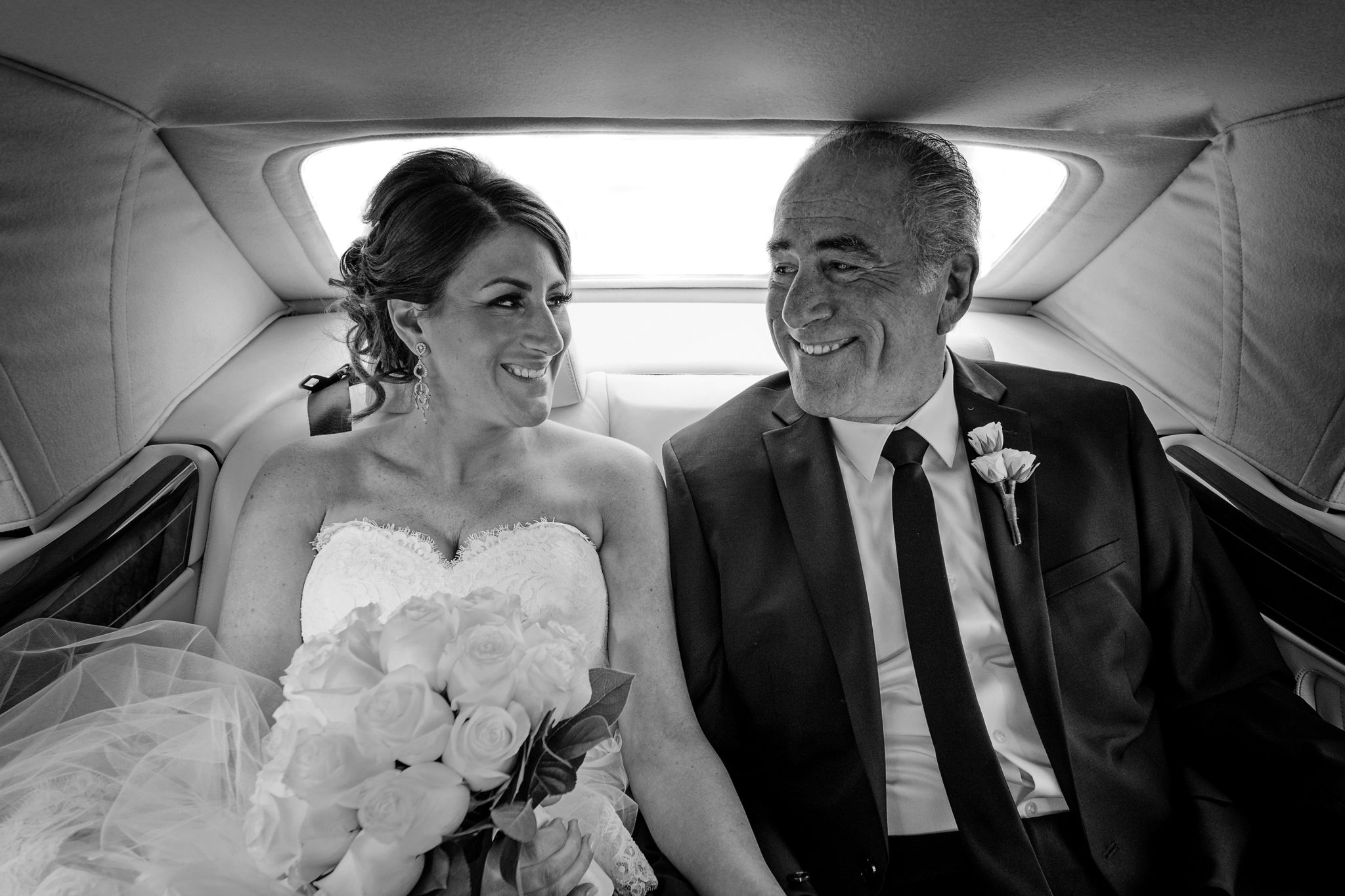 Bride and Father in limo